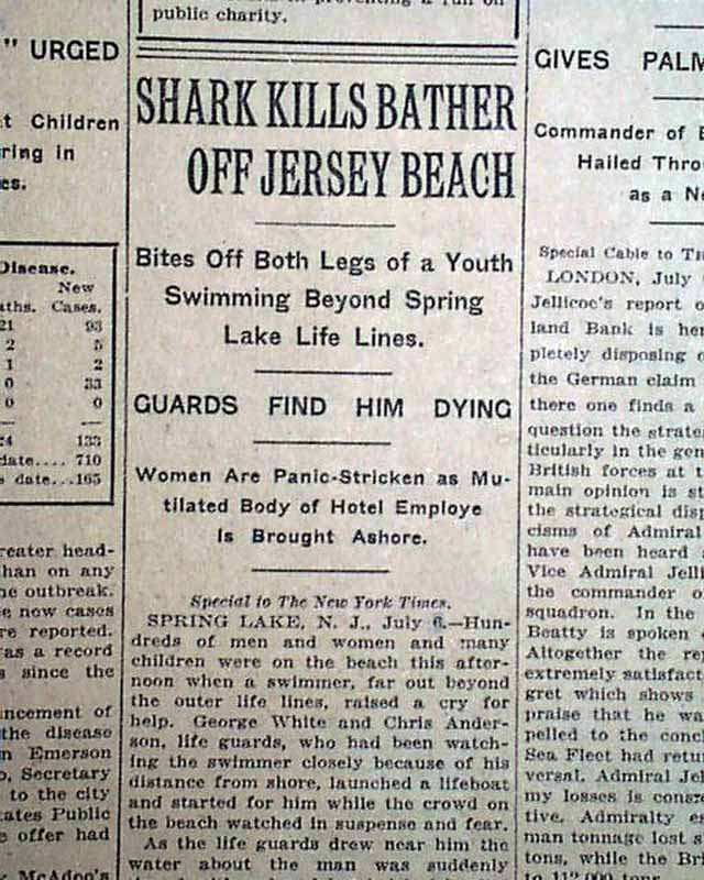 Shark Attacks Of 1916