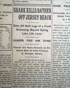 1916 shark attack newspaper