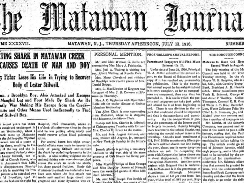 1916 matawan journal shark attack