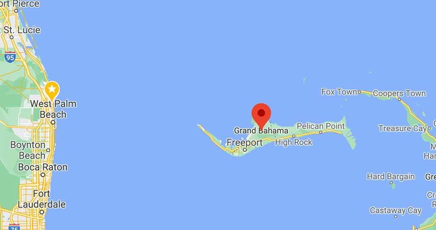 tiger beach bahamas map shark diving